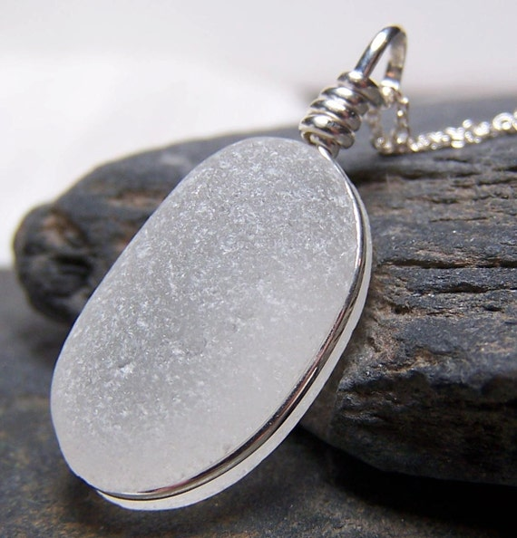 Crystal Moon - Glowing Sea Glass Sterling Silver Necklace - As Featured In COASTAL LIVING MAGAZINE