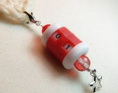 Clip On Stitch Counter - Holiday Star Crystal and Red Crackle Glass Beads
