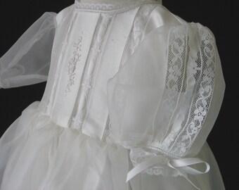 Silk Shantung / Silk Organza Christening Gown, Baptism Dress & Bonnet - Grace, by Embroidered Heirlooms