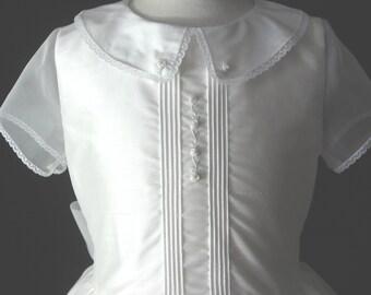 Girls Heirloom First Communion Dress or Flower Girl - SIlk Shantung, Silk Organza - Ava
