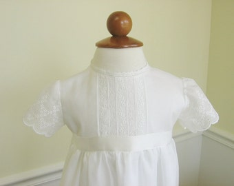 Christening Gown, Baptism Dress of Embroidered Swiss Cotton - Elizabeth, by Embroidered Heirlooms