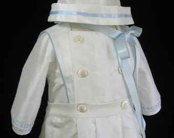 Boys Silk Christening Gown, Baptism Outfit w/ Button off skirt