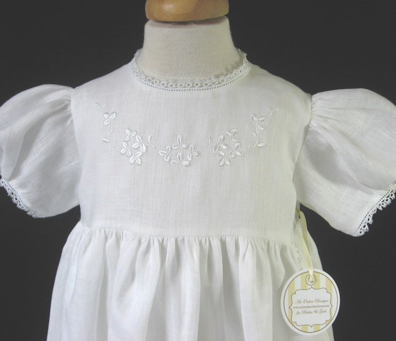 Irish Shamrocks Linen Christening Baptism Gown Bonnet With