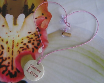 Earth Friendly CELEBRATE LOVE Porcelain Necklace on Cotton Candy Pink Hemp