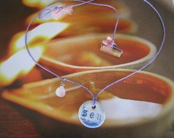 Earth Friendly ZEN Porcelain Necklace on Lilac Purple Hemp Cord w/ a Bamboo Closure Eco Gift Yoga Spiritual Natural Meditation