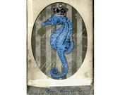 Queen of the Sea Bright Blue Sepia Seahorse Cards Vintage Style Keepsake Prints