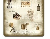 Letter I Sepia Pictorial Art Print  ice cream,  iris,  ivy and more