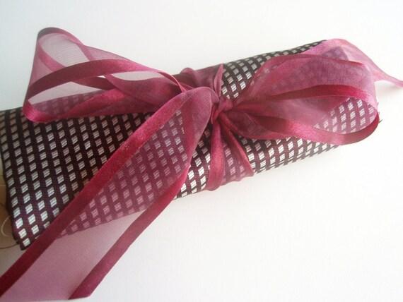 Structured Maroon and Silver Italian Silk Fabric - 1.5 yard destash