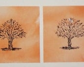 HAND PAINTED FABRIC, SET OF TWO SIX INCH QUILT SQUARES WITH TREES