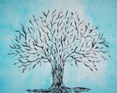 Hand painted cotton fabric with beautiful timeless  tree of life on crisp blue background