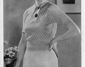 Columbia Cosmopolite Blouse No. 5418 - Vintage 1930s Knitting Pattern, 1934