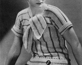 1930s Vintage Ladies' Crochet Blouse Pattern - Retro Deco - PDF E-book