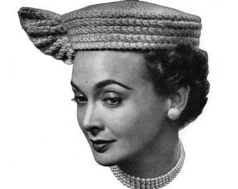 1940s 1950s Vintage Knitted Hat Pattern - Winged Pill Box - PDF eBook