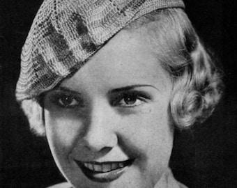 Pinch-Tuck Beret - Vintage 1930s Crochet Hat Pattern
