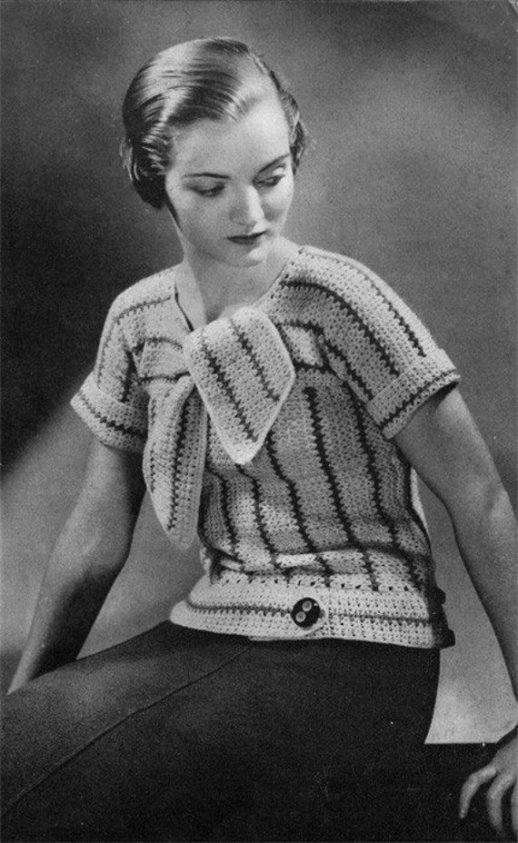 1930s Vintage Ladies' Crochet Blouse Pattern Retro Deco
