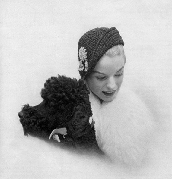 Profile Hat and Double Bracelet Bag - Two Vintage Crochet Patterns - 1950 - PDF eBook
