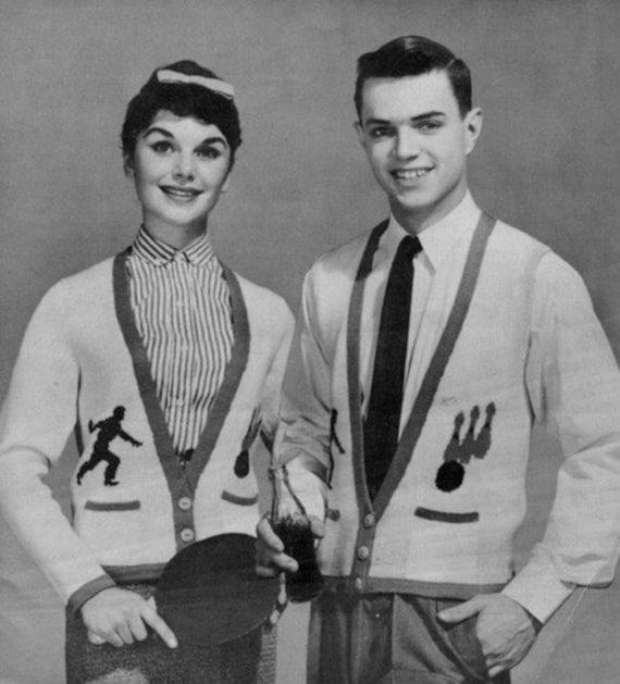 Vintage Bowling Design 1950s Vests Knitting Pattern - Restored e-Book