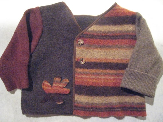 Fall Leaf Felted Recycled Wool Sweater 2T