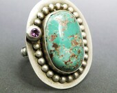 SUPER SALE Sterling Silver Ring with Variscite and Amethyst Size 7 -Orbit