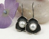 White Pearl Earrings Sterling Silver Rose jewelry - Rosy Disposition Earrings
