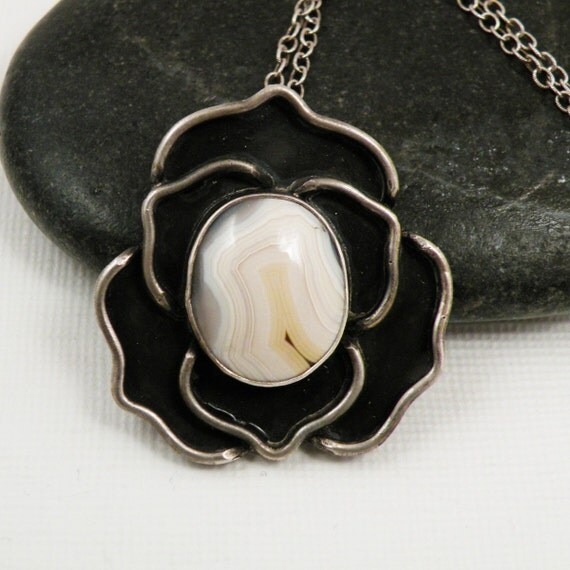 RESERVED SALE Sterling Silver Rose Necklace Yellow Laguna Agate- Rosy Disposition