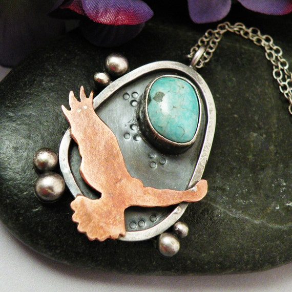 Sterling Silver, Copper and Turquoise necklace - Fly Me to the Moon