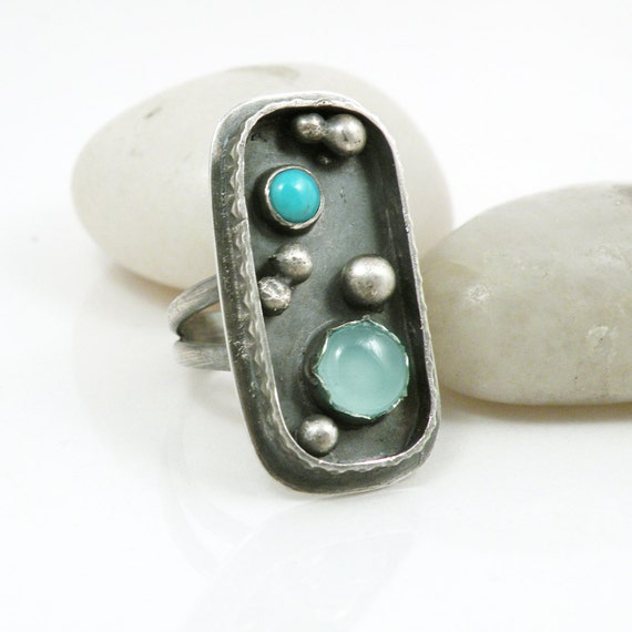Sterling Silver Ring Turquoise Chalcedony Stone Jewelry Large Statement Ring Size 8 - Effervescent