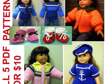 5 knitting PATTERNS BEGINNER level for American Girl 18 inches doll