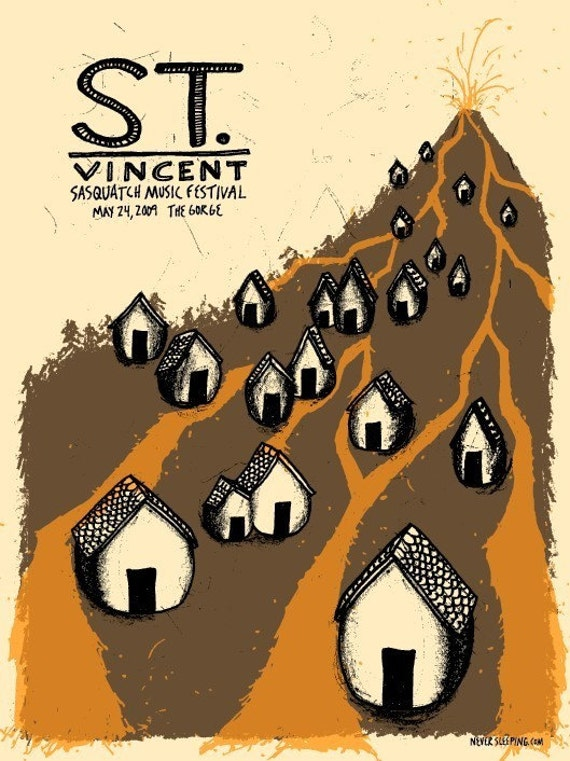 St. Vincent screen printed concert poster, Sasquatch music fest