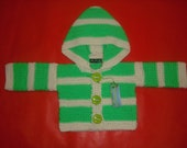 Reserved Listing for Magnum 83 NANOOS  BOUTIQUE Funky Baby Hoodie stripey hoodie green and cream 3 - 6 months