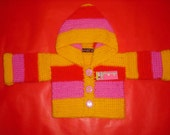 Reserved Listing For Magnum 83 NANOOS BOUTIQUE Funky  stripy hoodie Raspberry pink,sunshine,yellow and red 3-6 months