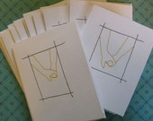 Custom Order for TheLilacHillFarm - 10 Hand in Hand stitched note cards - RESERVED