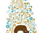 Hedgehog Spring Print Art Flowers Orange Aqua Woodland