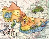 Cambridge Boston Map Harvard MIT Art Print