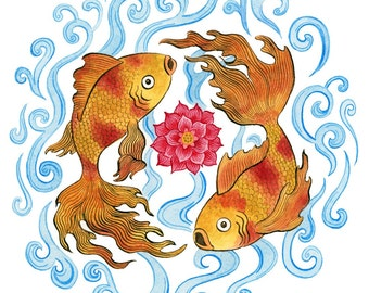 Goldfish lotus art print