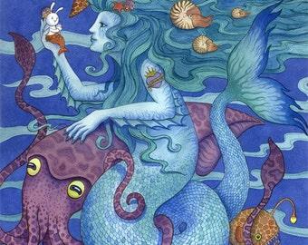 Mermaid art print ocean sealife illustration large