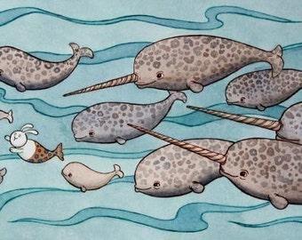 Arctic Print - Narwhals Bunny Ocean Art