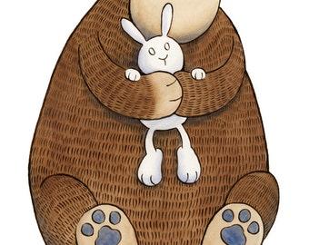 Bear Hug Bunny Art Print