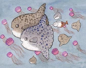 Mola Mola Merbunny Art Print Along for the Ride