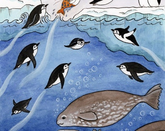 "Antarctica Penguins Seals Merbunny Art Print 8"" x 10"""