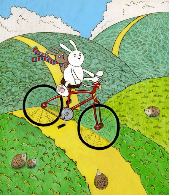 Reckless Bunny Red Bicycle Art Print