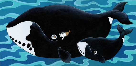 Bowhead Whale and Merbunny Large Art Print The Secret