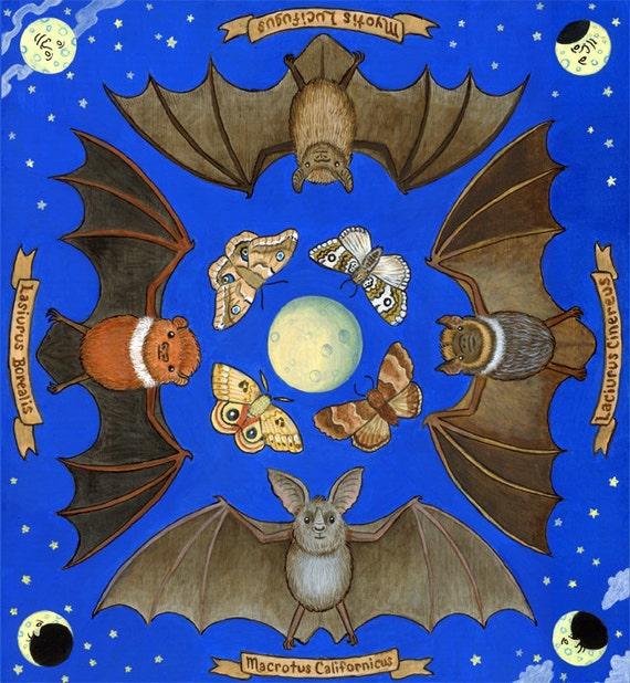 "Bats Art Illustration Print 8"" x 10"""