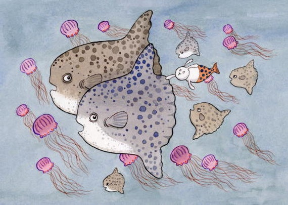 "Mola Mola Merbunny Art Print Along for the Ride Large 11"" x 14"""