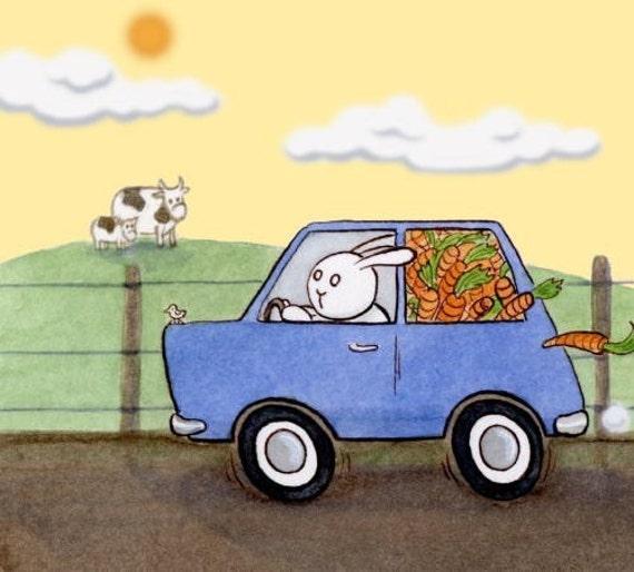 The Getaway - Bunny, Rabbit, Car, Carrot, Farm, Crime Art