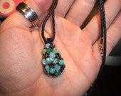 Turquoise Beaded Drop Pendant and Necklace - Reserved for liltweety