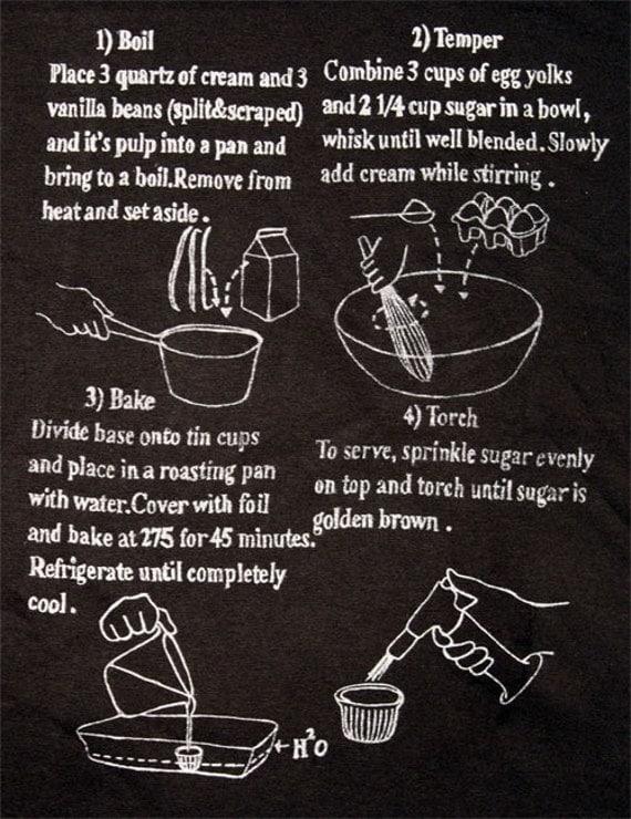 Creme Brulee Recipe black T Shirt (size small)