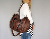 LARGE FURROW ECO FRIENDLY BAG -  brown leather