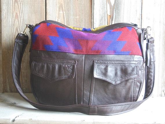Aztec Navajo Dark Brown Leather Tundra laptop overnight bag