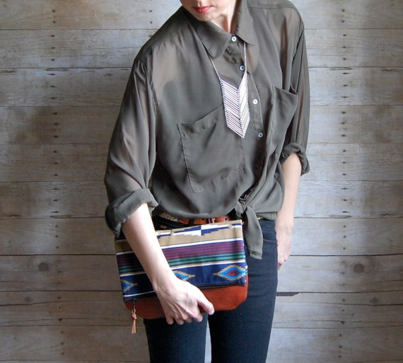NAVAJO -  made to order Leather and fabric envelope clutch
